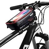 Zingso Bolsa Bicicleta Manillar para Ciclista Ciclismo, Bolsa Bici con Soporte para Telefono Móvil, Bolso Bicicleta Impermeable y con Ventana para Pantalla Táctil de hasta 6,5'' (Rojo)