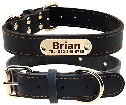 TagME Personalisierte Hundehalsbänder aus Leder mit Eingraviertem Namen und Telefonnummer / Hundehalsbänder aus Echtem Leder für Mittlere und Große Hunde / Schwarz