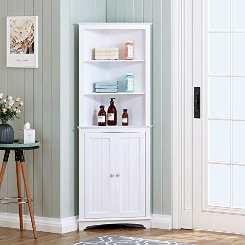Spirich Home Tall Corner Cabinet with Two Doors and Three Tier Shelves, Free...