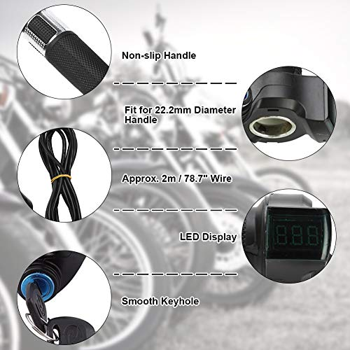 GLOGLOW Bike Throttle Grip, Universal Electric Bicycle Scooter Twist Throttle Grips with LED Display Screen Handle with Key Knock