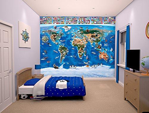 Walltastic, Mural, mapamundi, Multicolor, 243 cm x 304 cm