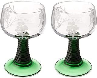 Set of 2 Small Rhein Glass Roemer German Vintage Wine Glass Goblet