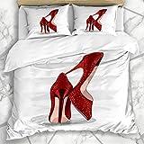 Conjuntos de fundas nórdicas Clásico rojo Tacones brillantes Zapatos Estilete Primer plano Elegancia detallada Diseño...