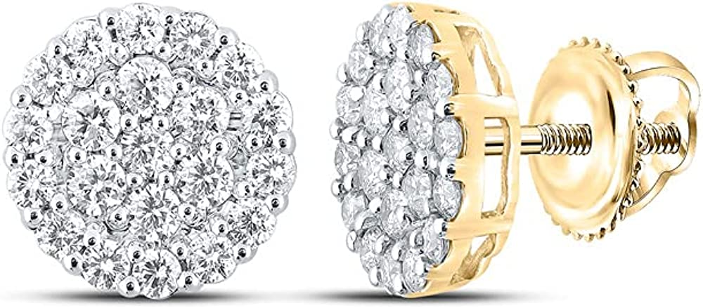 10kt Yellow Gold Mens Max 50% OFF Round 2 Diamond Popular brand Earrings Cttw Cluster