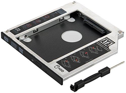 """Poppstar - Caddy SSD et HDD de 2,5""""(7mm, 9.5mm), Adaptateur Disque Dur HDD Interne pour Baie de Lecteur CD-DVD Sata 3 de 9.5mm (Notebook, Ordinateur Portable, etc.)"""