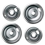 Pulluty 316048413 and 316048414 Replacement Stainless Steel Drip Pan Set for Frigidaire and Kenmore - Includes 2 X 6'' and 2 X 8'' Pans (4 Pack)