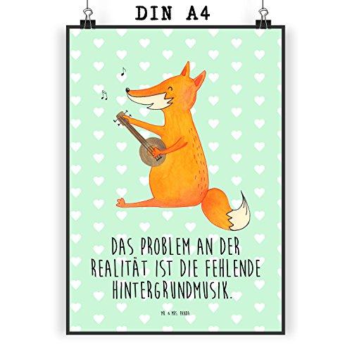Mr. & Mrs. Panda Poster DIN A4 Fuchs Gitarre - 100% Handmade in Norddeutschland - Bild, Sängerin, Papier, Musik Spruch, Sänger, Geschenk, Gitarre, Geschenk Musiker, Musikerin, Poster, Wanddeko