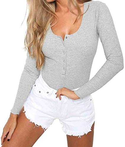 PALINDA Women s Long Sleeve Button Down Striped Stretchy Leotard Bodysuit Light Grey S product image