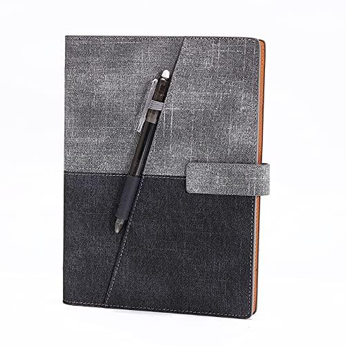FACHAI Bloc de notas A5, a rayas, de piel sintética, con tapa, calendario, bloc de notas, agenda semanal, hojas sueltas, 21 x 14,5 cm, color gris oscuro