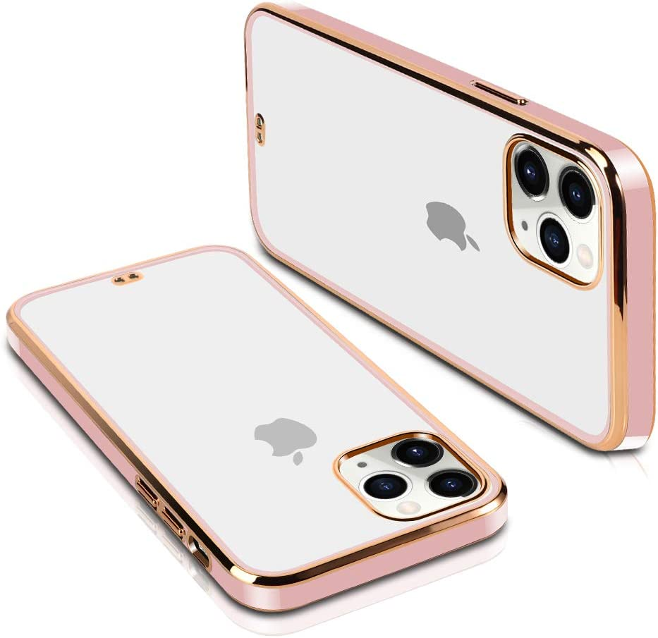 SOKAD iPhone 11 Pro Max Case, Clear Soft TPU Plating Bumper Anti-Scratch Shockproof Protective Case Cover for iPhone 11 Pro Max 6.5 Inch 2019 (Cherry Blossom Powder)