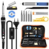 Electric Soldering Iron Kit, 60W Tin Soldering Iron with On / Off Switch, Adjustable Temperature Soldering Iron, 5pcs Soldering Iron Tips, Tin Soldering Irons, Desoldering Iron, S-shaped Stand. 14 in 1 Soldering Kit