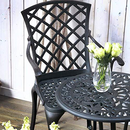 Lazy Susan TULIP 60cm 2 Seater Round Garden Table, Maintenance Free, Lightweight, Weatherproof, Sand Cast Aluminium, Antique Bronze, EMMA Chairs