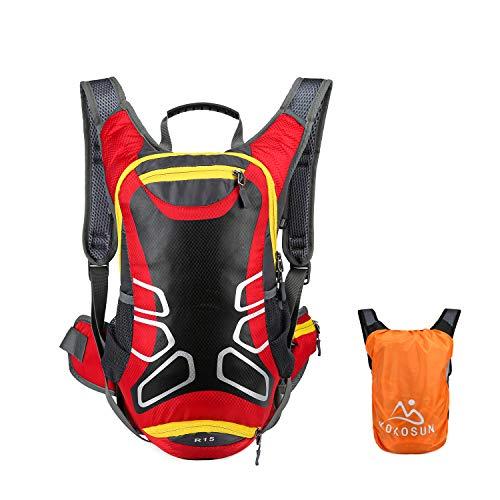 KOKOSUN Fahrradrucksack 15L Fahrrad Rucksäcke mit Regenschutz und Helmabdeckung Wasserdichter Ultralight für Outdoor MTB Radsport Wandern Bergsteigen Hydration (Rot)