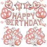 Rorchio Decorazione Palloncini Oro Rosa Festone di Palloncini per Compleanno, Palloncini Happy Birthday Palloncini coriandoli Palloncini Lattice Oro Rosa