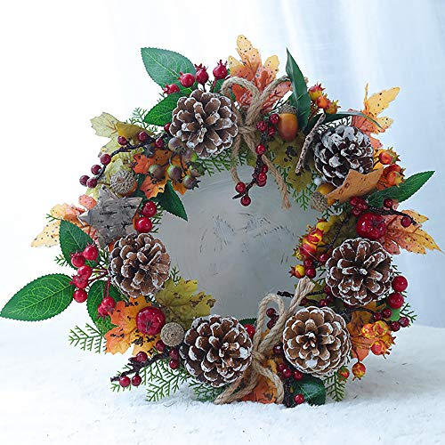 SUNGFINE Artificial Wreath Flower Garlands with Skeleton and Leaves for Front Door Indoor or Outdoor Wall Wedding Home Decoration (Pine Cones, 8.26'×13.7')