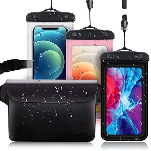 [3 Unidades] Funda Impermeable, AROYI [3 pack] Bolsa Móvil Impermeable Universal de 4.0' - 6.5' Pulgada para iPhone Samsung Huawei Xiaomi HTC LG Sony Nokia Motorola - Color Negro + Transparente + Rosa