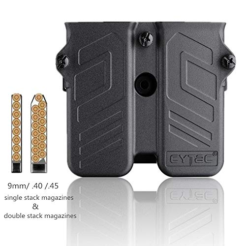 Universal Double Magazine Pouch with Belt Clip, Mag Holder fit 9mm.40.45 Caliber Single or Double Stack Magazines, Polymer OWB Belt Mag Holster with 360° Adjustable Cant