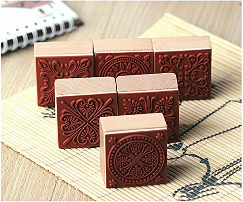 6 Styles DIY Scrapbooking Lace Stamps Vintage Flower Wood Rubber Craft Ink Pad Stamp Wax Seal Stamp (6 styles)