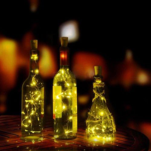 LED Cork Flasche Lichterkett Weinkorken, Oktoberfest Bierkrug Bottle Dekor Lights, Kupfer Draht String Sternenhimmel Lichter für Bar, Hochzeit, Halloween, Weihnachten, Geburtstag Party DIY Deko (Gelb)