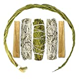 LIFE OF GAIA セージスマッジキット Sweetgrass Braid 14インチ シダースマッジスティック ホワイトセージスマッジスティック パロサント。 ギフトボックス入りスマッジキット。 セージのお香スティック。浄化とポジティブなエネルギーに。