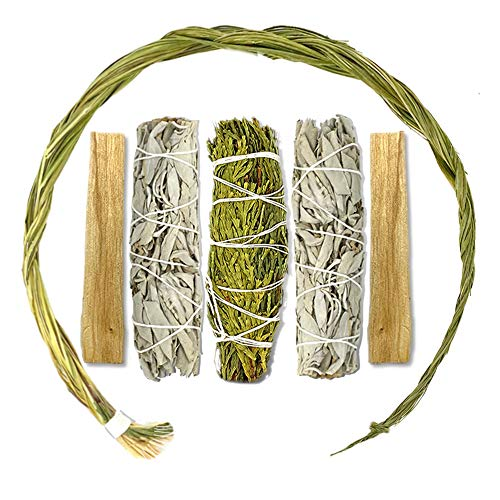Sweetgrass Sage Cedar & Palo Santo Smudge Kit with Sweetgrass Braid 14', Cedar Smudge Stick, White Sage Smudge Sticks & Palo Santo. Smudging Kit. Sweetgrass Braid for Smudging, Cleansing & Positivity.