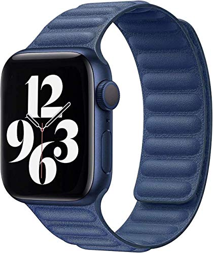 Fengyiyuda Compatibile per Apple Watch Cinturino Pelle 38mm 40mm 42mm 44mm,Cinghia di aggiornamento Regolabile con Forte Magnetico Compatibile per iWatch Series SE/6/5/4/3/2/1(42/44mm Blu)