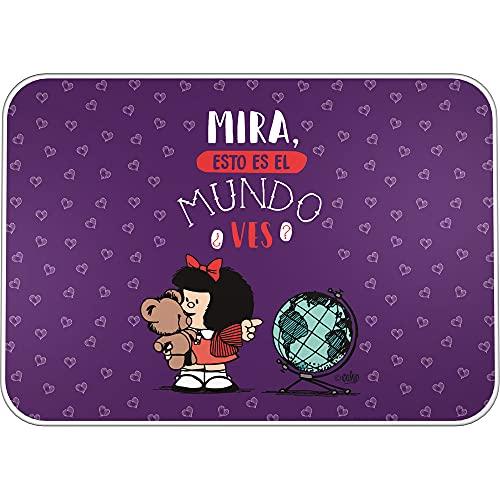 Mafalda 9252638. Vade Escolar de Escritorio, PVC, Colección Mafalda, Mundo, 47x33cm