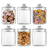 Glass Jars 32oz,Maredash Candy Jar with Lid For Household,Food Grade Clear Jars (6 Pack)