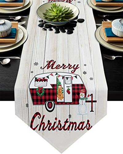 13x108 Inch Dining Table Runner, Anti-Wrinkle Linen Burlap Table Runners Mats for Housewarming Gift, Christmas Holiday RV Camper Cute Snowman and Dog Wood Board Tabletop Cover & Kitchen Collection