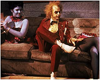 Beetlejuice (1988) 8 inch x 10 inch PHOTOGRAPH Michael Keaton Seated on Couch in Red Tuxedo kn