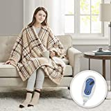 Comfort Spaces Plush to Sherpa Electric Blanket Shoulder and Neck Wrap with Matched Sock Set-Ultra Soft and Warm Hypoallergenic Fleece-Reversible Heated Poncho Throw, 50' W x 64' L, Tan Plaid