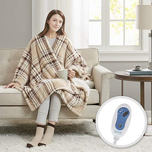 Comfort Spaces Plush to Sherpa Electric Wrap Blanket and Socks Set Ultra Soft Warm Reversible Heated Poncho Throw, 50' W x 64' L, Tan Plaid