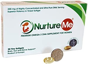 Nurture Me Omega 3 DHA Fish Oil Supplement for Women 18 to 55 Years (30 Tiny Softgel) Perfect for Prenatal, Postnatal & Lactation Support