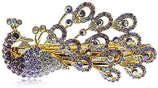Pretty Peacock Hair Clip Enamel Gold Tone Alloy Purple Clear Rhinestones Jewelry