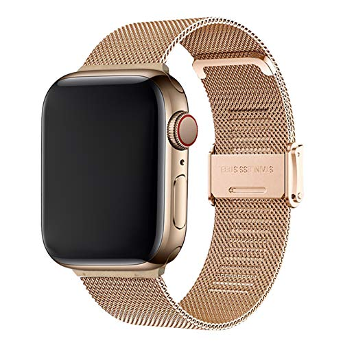 Cinturino per Apple Watch 42mm 44mm,Bracciale in Acciaio Inossidabile Compatibile con iWatch Series SE 6/5/4/3/2/1 (42mm/44mm, Oro Rosa)