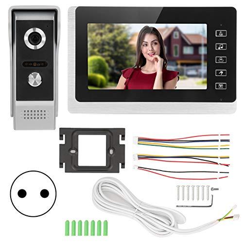7 pulgadas TFT LCD Video Timbre con cable 2 vías Visión nocturna Impermeable Seguridad para el hogar Systerm 100-240V(EU Plug)