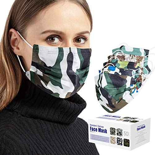 50 PCS Camouflage Disposable Face Masks, 3 Layers Breathable Safety Masks with Elastic Earloops for Adult (Camouflage )