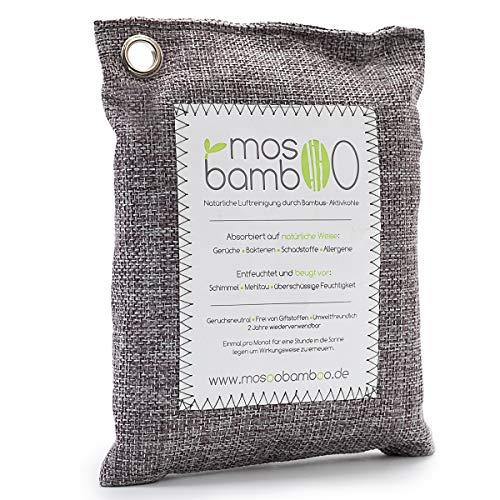 Mosoobamboo luchtverfrisser CleanAir van bamboe actieve kool | biologische geurkiller/geurverwijderaar zonder chemicaliën