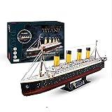 CCCYT DIY Rompecabezas De Titanic 3D Juguetes LED Titanic Kits de Modelos Decoración De Mobiliario Exquisita, Adecuado para La Colección (266Pcs)