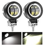 KAWELL 40W LED フォグランプ デイライト付き ワークライト 作業灯 補助灯 12v 24v 車 バイク 汎用 2個セット 防水 1年保証 (丸型)