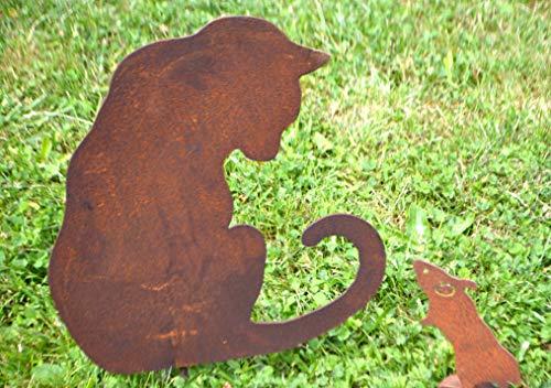 Maison en France Katze-hübscher Gartenstecker Katze für die Gartendekoration,Metall mit Edelrost