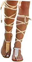 Women Gladiator Sandals Flat,Summer Strappy Lace Up Open Toe Knee High Flat Sandal