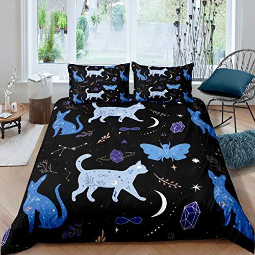 Loussiesd - Juego de ropa de cama para niñas y niños, diseño de mariposas, color azul