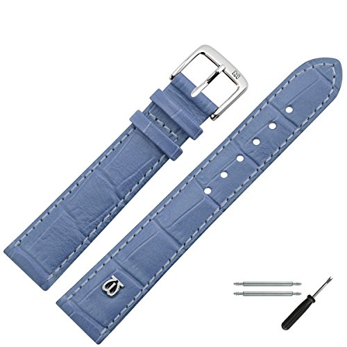 MARBURGER Uhrenarmband 20 mm Leder Blau Alligator - Werkzeug Montage Set 5282053000120