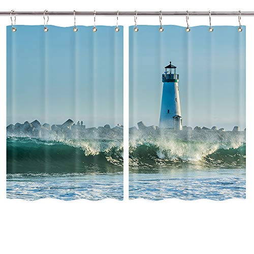 Lighthouse Kitchen Curtains, Lighthouse at Sea for Navigation Nautical Premium Decor Window Drapes Curtains 2 Panels, Upgrade Window Treatment Sets with Hooks, 55X39Inches