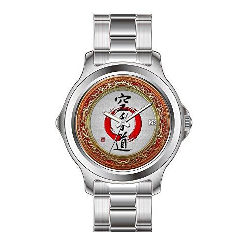 FDC Weihnachten Geschenk Uhren Herren Fashion Japanisches Quarz-Datum Edelstahl Armband Armbanduhr Japanisches Kalligrafie–Karate-do Armbanduhr Zazzle