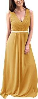 Jonlyc Double V-Neck A-Line Beaded Long Chiffon Bridesmaid Dresses Evening Gowns