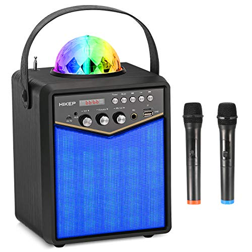 HIKEP Bluetooth Karaoke Machine with 2 Wireless Microphones, Portable PA Speaker System with Disco Lights for Kids and Adults Home Karaoke Party (Black)