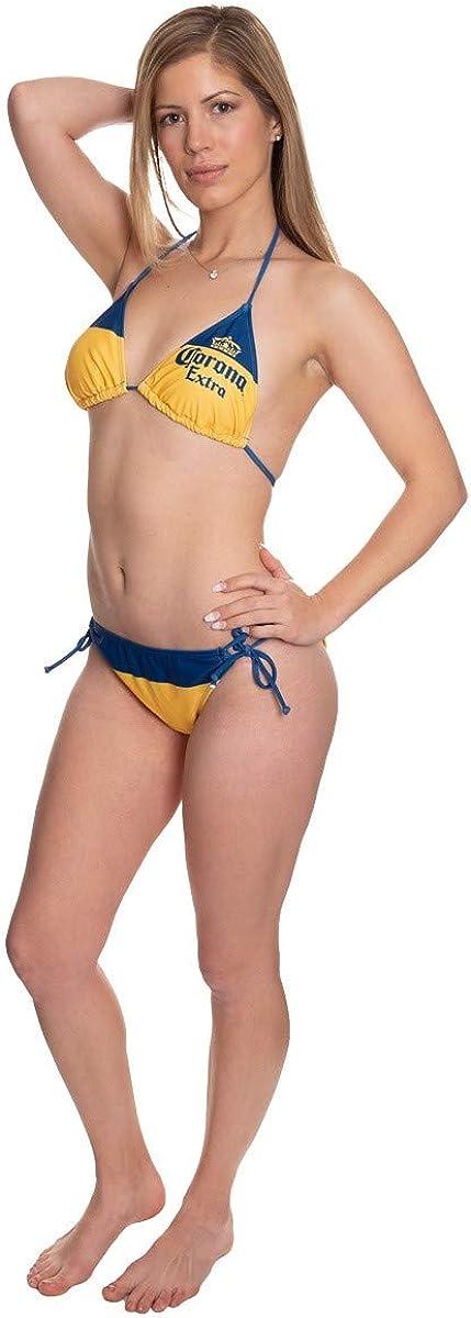 Official Corona Two Piece Side Tie Padded Triangle Top Swimsuit Bikini Set