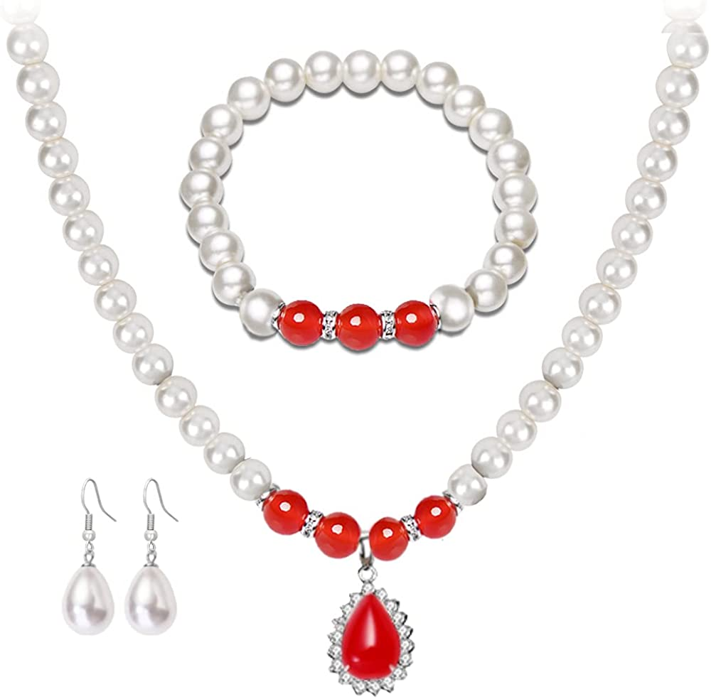 COLOYAN Faux Pearl Jewelry Set for Women Girls Simulated Pearl Necklace Bracelet Earrings Round White Pearl Jewelry Mothers Day Birthday Wedding Gift